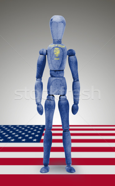 Wood figure mannequin with US state flag bodypaint - Oregon Stock photo © michaklootwijk