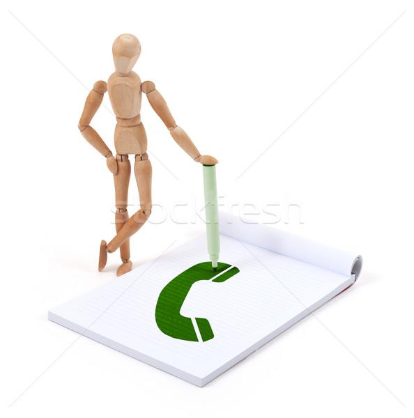 Bois mannequin écrit téléphone scrapbook affaires Photo stock © michaklootwijk