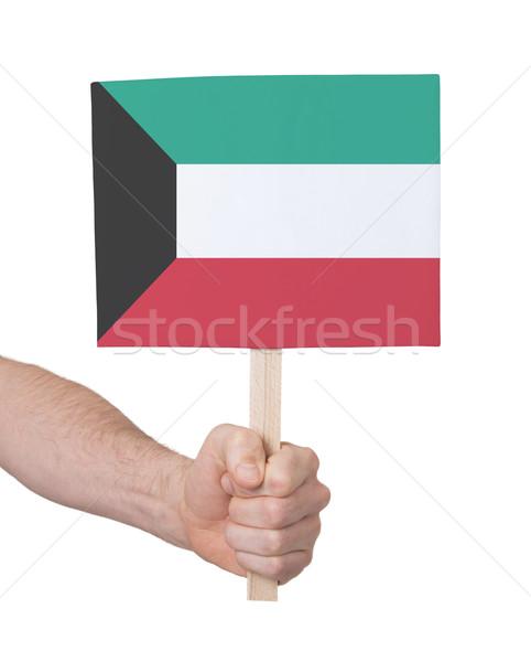 Mão pequeno cartão bandeira Kuweit Foto stock © michaklootwijk