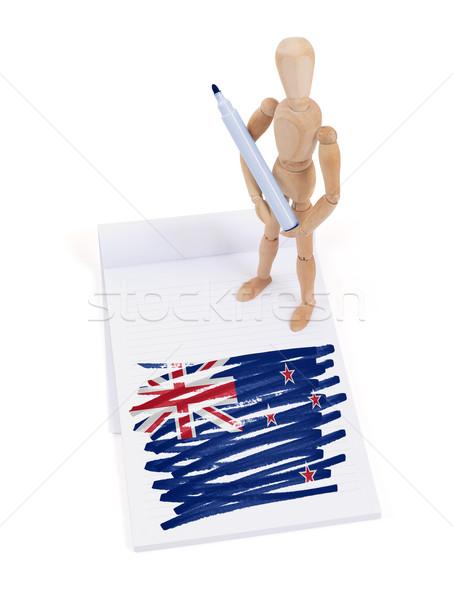 Fából készült próbababa rajz Új-Zéland zászló papír Stock fotó © michaklootwijk