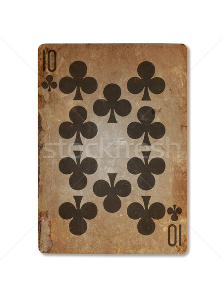 Stock photo: Very old playing card, ten of clubs