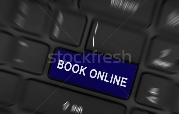 Stockfoto: Blauw · boek · online · knop · computer