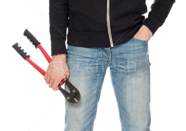 Robber with red bolt cutters Stock photo © michaklootwijk