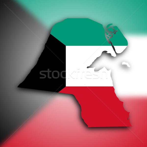 Mappa Kuwait percorso ombra banner isolato Foto d'archivio © michaklootwijk