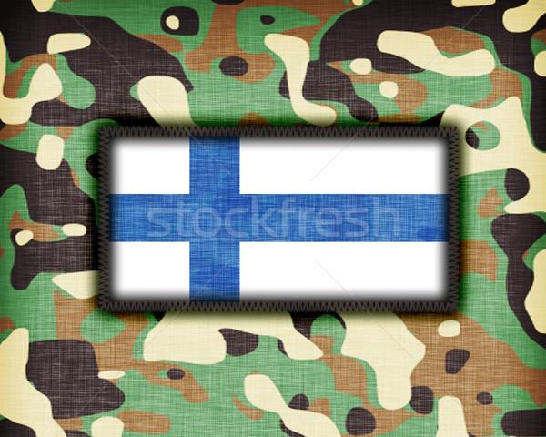 Kamuflaż uniform Finlandia banderą tekstury streszczenie Zdjęcia stock © michaklootwijk