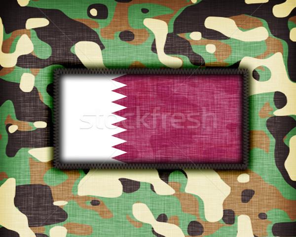 Kamuflaż uniform Katar banderą tekstury streszczenie Zdjęcia stock © michaklootwijk