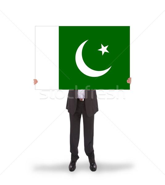 Işadamı büyük kart bayrak Pakistan Stok fotoğraf © michaklootwijk