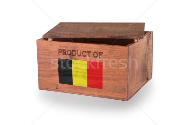 Stock fotó: Fából · készült · láda · izolált · fehér · termék · Belgium