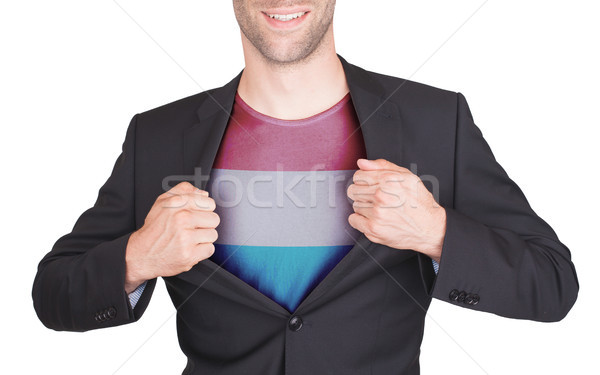 Zakenman opening pak shirt vlag Luxemburg Stockfoto © michaklootwijk