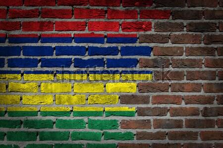 Oscuro pared de ladrillo derechos textura bandera arco iris Foto stock © michaklootwijk