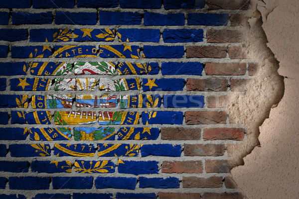 темно кирпичная стена штукатурка Нью-Гемпшир текстуры флаг Сток-фото © michaklootwijk