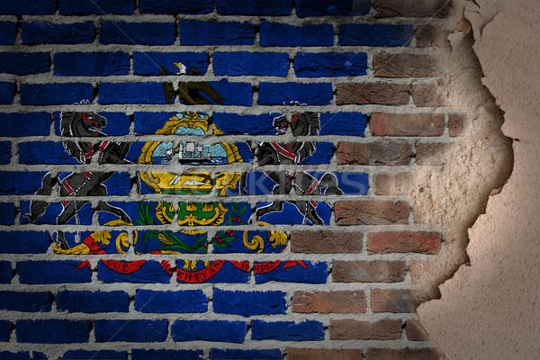 Sötét téglafal tapasz Pennsylvania textúra zászló Stock fotó © michaklootwijk