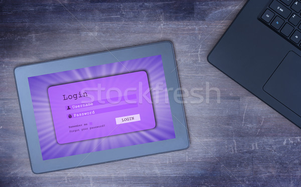 Login interface on tablet - username and password, cold blue fil Stock photo © michaklootwijk