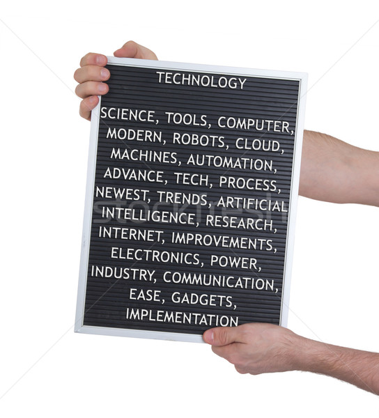 Stock photo: Technology concept in plastic letters on very old menu board