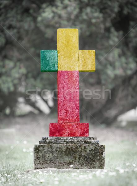 墓石 墓地 ベナン 古い 風化した フラグ ストックフォト © michaklootwijk