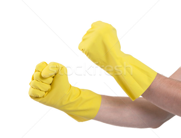 Hände Gummihandschuhe gestikulieren Faust isoliert weiß Stock foto © michaklootwijk