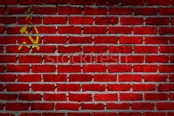 Oscuro pared de ladrillo urss textura bandera pintado Foto stock © michaklootwijk