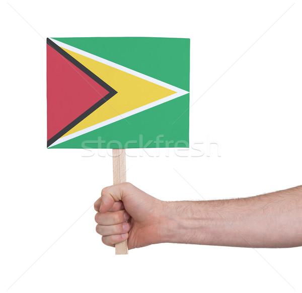 Kéz tart kicsi kártya zászló Guyana Stock fotó © michaklootwijk