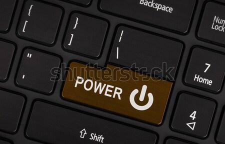 Rosolare potere pulsante nero tastiera del computer portatile primo piano Foto d'archivio © michaklootwijk