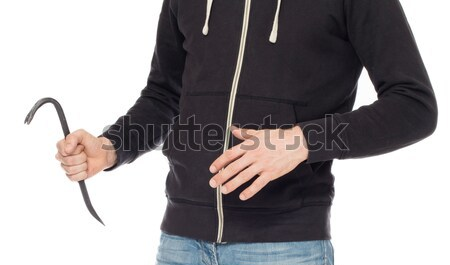 Crime concept. Criminal in hood with crowbar in hand Stock photo © michaklootwijk