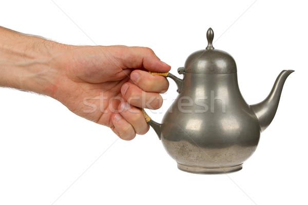 古い 錫 茶 ポット フル 孤立した ストックフォト © michaklootwijk