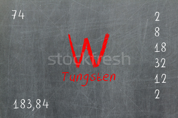 Isolated blackboard with periodic table, Tungsten Stock photo © michaklootwijk