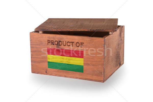 Stock fotó: Fából · készült · láda · izolált · fehér · termék · Bolívia
