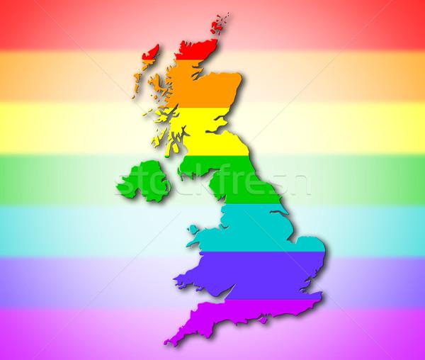 Royaume-Uni Rainbow pavillon modèle carte Voyage Photo stock © michaklootwijk
