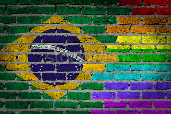 темно кирпичная стена правые Бразилия текстуры флаг Сток-фото © michaklootwijk