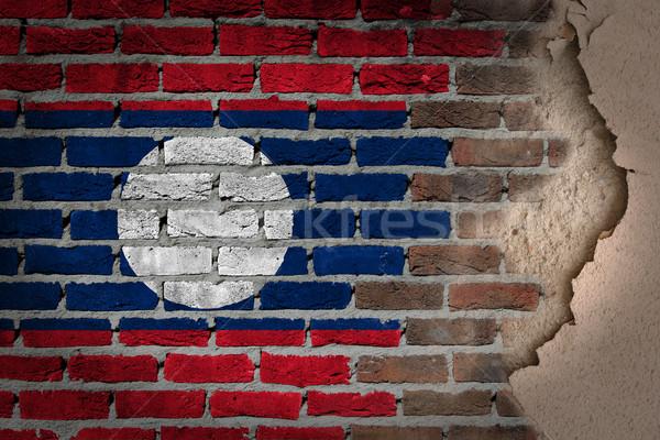 Sötét téglafal tapasz Laosz textúra zászló Stock fotó © michaklootwijk