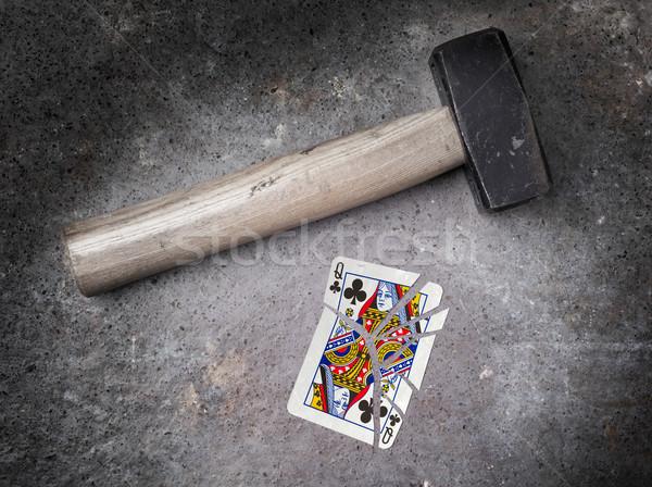 Hammer defekt Karte Königin Jahrgang aussehen Stock foto © michaklootwijk