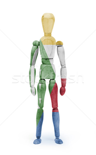 Wood figure mannequin with flag bodypaint - Comoros Stock photo © michaklootwijk