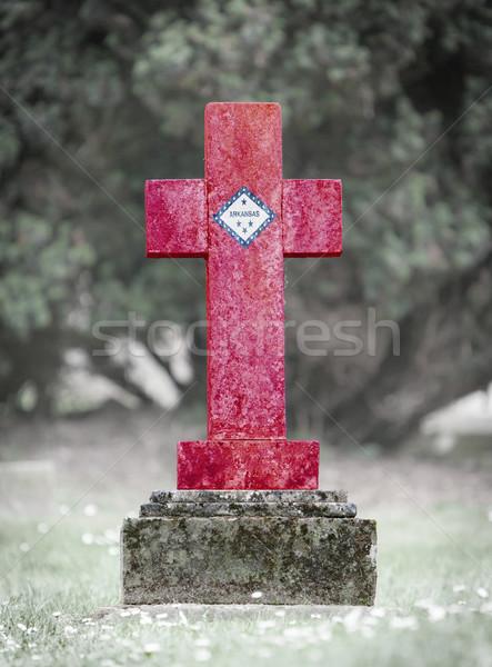 Lápida sepulcral cementerio Arkansas edad capeado bandera Foto stock © michaklootwijk