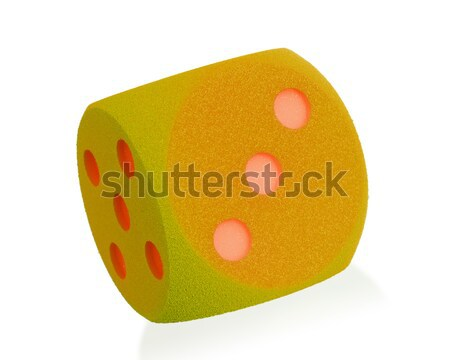 Large orange foam dice isolated - 3 Stock photo © michaklootwijk
