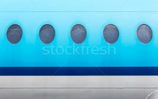 Windows azul avião cópia espaço fundo metal Foto stock © michaklootwijk
