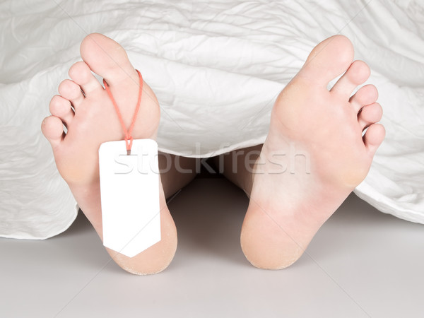 Lijk teen tag witte vel vrouw Stockfoto © michaklootwijk