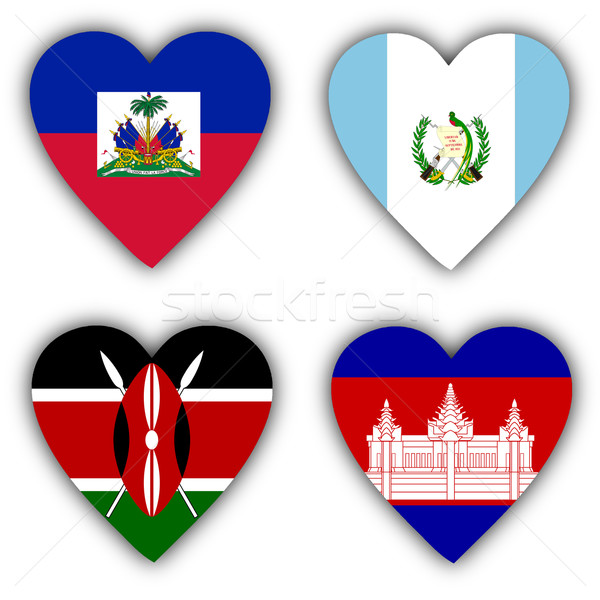 Zászlók forma szív különböző országok szeretet Stock fotó © michaklootwijk