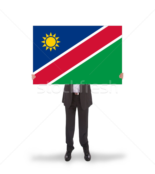 Işadamı büyük kart bayrak Namibya Stok fotoğraf © michaklootwijk