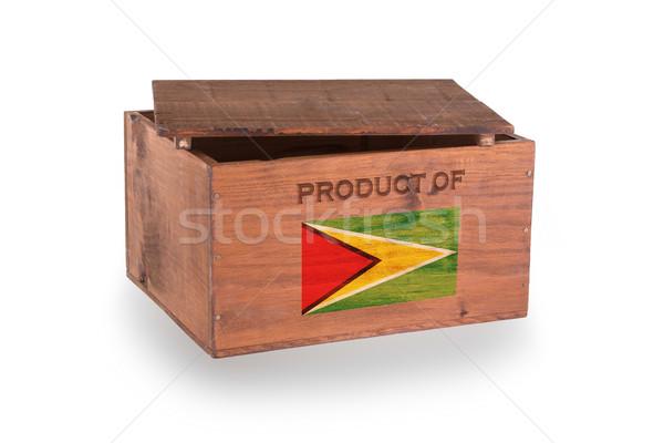 Stock fotó: Fából · készült · láda · izolált · fehér · termék · Guyana