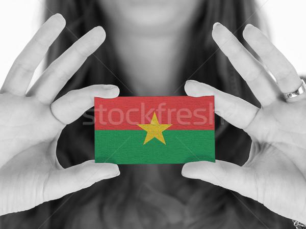 Stockfoto: Vrouw · tonen · visitekaartje · zwart · wit · Burkina · ruimte