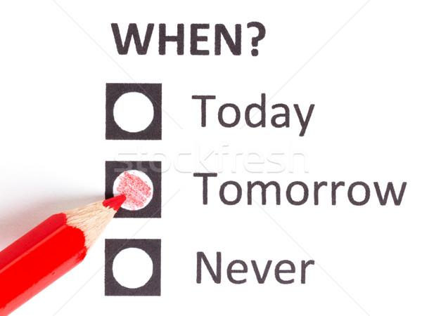 Vermelho lápis escolher prazo de entrega hoje amanhã Foto stock © michaklootwijk