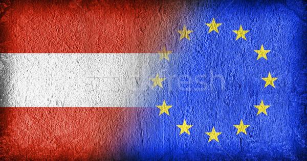 Австрия Евросоюз флагами окрашенный треснувший конкретные Сток-фото © michaklootwijk