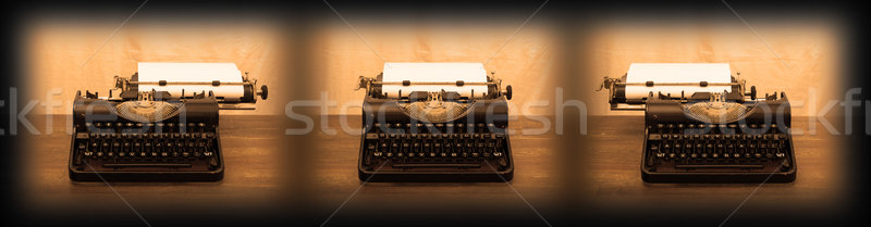 Old typewriter on wooden table Stock photo © michaklootwijk