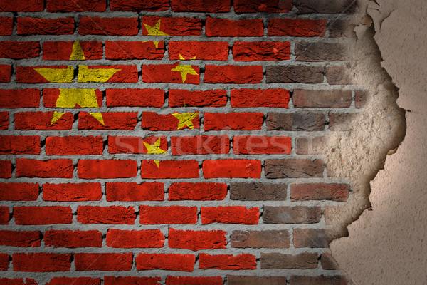 темно кирпичная стена штукатурка Китай текстуры флаг Сток-фото © michaklootwijk
