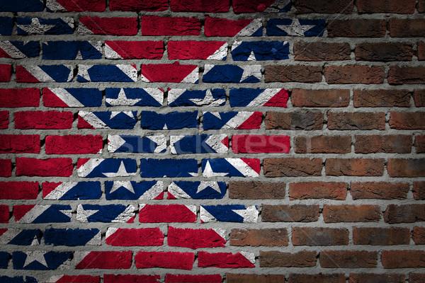 Dark brick wall - Confederate flag Stock photo © michaklootwijk