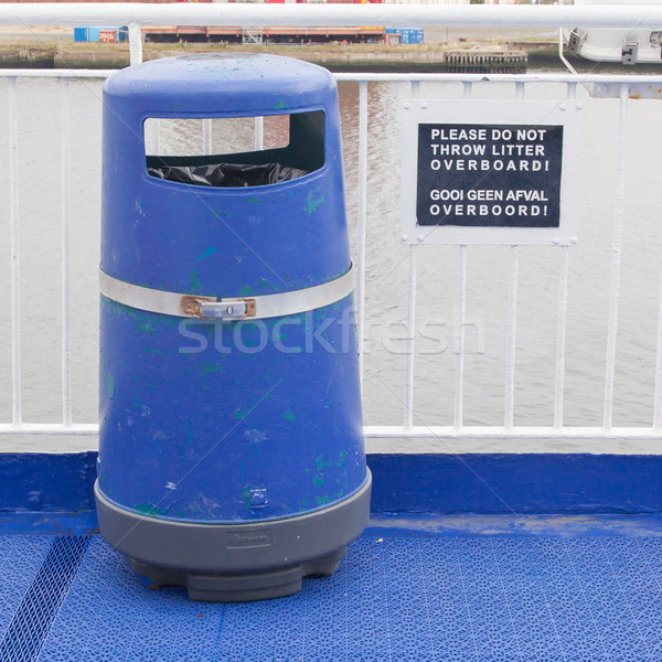 Blue bin on deck of cruise liner Stock photo © michaklootwijk