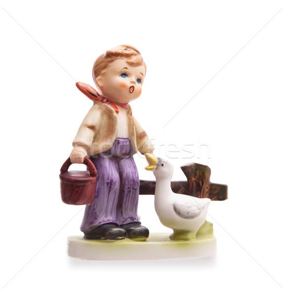 Very old statue, small ceramic boy Stock photo © michaklootwijk