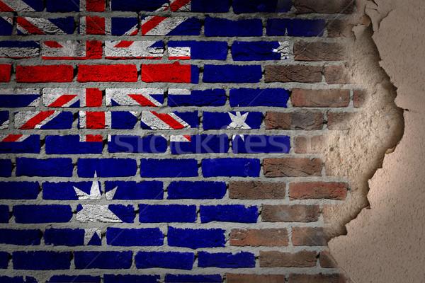 Escuro parede de tijolos gesso Austrália textura bandeira Foto stock © michaklootwijk