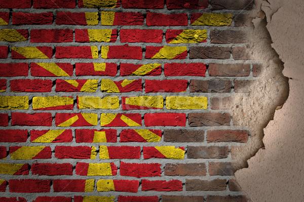 Sötét téglafal tapasz Macedónia textúra zászló Stock fotó © michaklootwijk