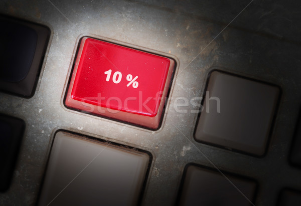 Red button on a dirty old panel Stock photo © michaklootwijk